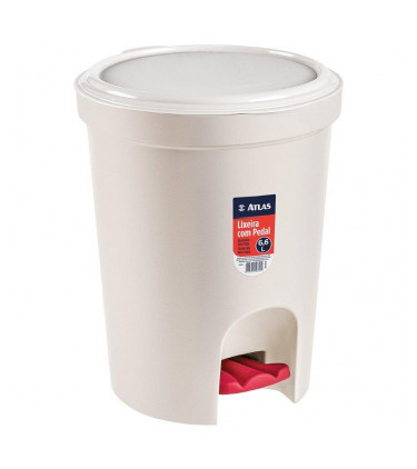 Round plastic dustbin with pedal